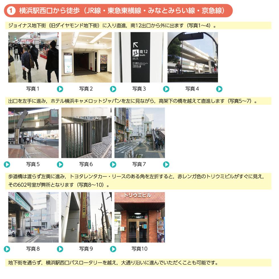横浜西口からのアクセス